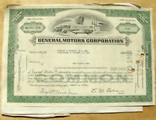 Stock certificate General Motors Cororation, 1972 with 4 documents. Oklahoma
