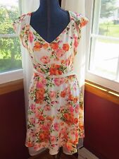 Modcloth Yellow Star Floral Dress Size S Romantic Chic Cap Sleeve Belted LQQK