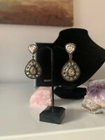 Natural Diamond And Emeralds Earrings, Gold Finish