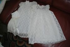 Infants ivory christening dress, robe and hat-lace material 3 month size