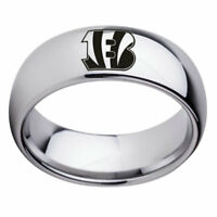 Cincinnati Bengals Football Team Stainless Steel Silver Ring Band Size 6-13