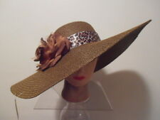 Hat -BROWN Ribbed Wide Brim Kentucky Derby Church Wedding ANIMAL Print