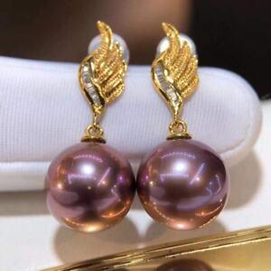 Certified Genuine Natural Imperial Gold Purple Pearl 18K Gold Zircon Earrings