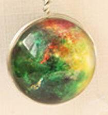Glass Globe Ball Cosmos Sky Stars Nebula Pendant Necklace Silver Chain 68cm