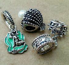 Disney Princess Ariel Mermaid in Teal Shell Tiara Seashell European Beads Charms