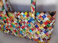 Candy Wrapper Hand Made Woven Purse with Strap Multi Color Zippered