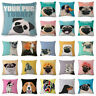 18inch Pug Soft Cushion Cover Home Decor Cotton Linen Blended Throw Pillow Case