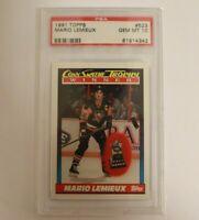 Mario Lemieux 1991 Topps #523 Pittsburgh Penguins Hockey Card PSA 10
