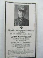 Very Rare Vintage WWII German Death Card, Medical Student, Brandl