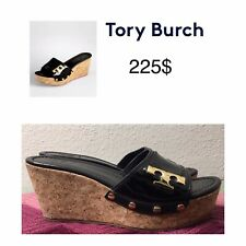 $225 TORY BURCH Pamela Black Patent Leather Sandals Slides Shoes Wedge Cork 6.5M