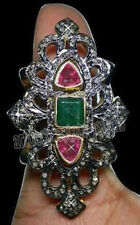 Emerald .925 Sterling Silver Cocktail Ring 2.15ct Rose Cut Diamond Topaz &