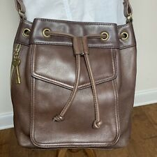 Fossil Brown Leather Bucket Cinch Drawstring Tote Crossbody Shoulder Bag Purse