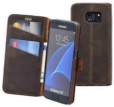 Exklusive Hülle Book Style Leder Schutz Tasche Antik Braun für Samsung Galaxy S7