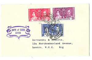 BASUTOLAND 1937 Coronation set of 3 on First Day of Issue cover Cancelled MASERU
