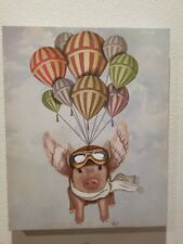 """Fab Funky flying pig with balloons Canvas Print 20""""×16"""" inches"""