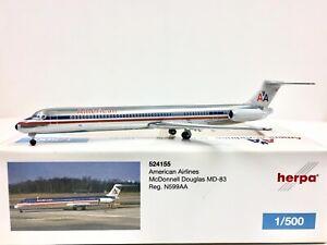 Herpa Wings American Airlines McDonnell Douglas MD-83 1:500 N599AA 524155