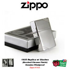 Zippo 1935 Replica Lighter, w/Slashes, Brushed Chrome, Genuine Windproof #1935