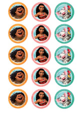 Moana Edible Images for Cupcakes Fondant Icing Sheet Pack of 15