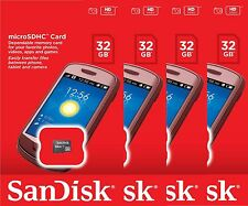 Lot of 4 SanDisk 32GB= 128GB MicroSD Micro SDHC Flash Memory Card Retail SD