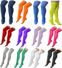NEW WOMENS PLAIN STRETCH OVER THE KNEE OTK HIGH SOCKS PUB GOLF GIRLS FANCY DRESS