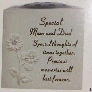 Special Mum and Dad Graveside Memorial Flower Pot Verse Grave Vase Loved Garden