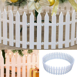 25x White Border Plastic Fencing Wooden Effect Lawn Garden Patio Edging