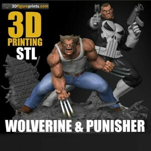 3D Printed - Resin - Wolverine and Punisher Diorama - Marvel - 3DXM - scale 1/16