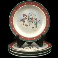 Set of 4 VTG Bread Plates by Royal Seasons Stoneware Snowmen RN2 Christmas