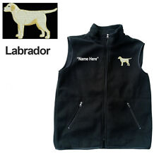 Lab Labrador Dog Fleece Vest with Zippers Personal Name Stitched Monogrammed