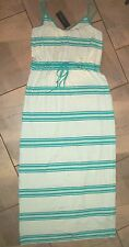 1102 Tommy Hilfiger Turquoise Blue Striped Soft Stretch Long Max Dress L