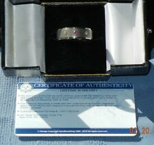 One Of A Kind Unisex Titanium Ring With Two Diamonds & A Ruby (Size 13) With COA