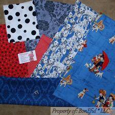 BonEful Fabric COTTON SCRAP QUILT LOT Blue B&W Dalmatian Dog Kid Flower Dot RARE