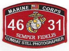 "USMC ""COMBAT STILL PHOTOGRAPHER"" 4631 MOS MILITARY PATCH SEMPER FI MARINE CORPS"
