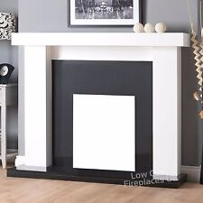"""GAS ELECTRIC WHITE BLACK GRANITE SURROUND FIRE FIREPLACE SUITE LARGE LIGHTS 54"""""""