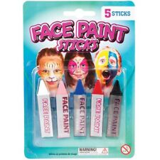 5 x Assorted Face Paint Sticks Fun Party Childrens Art Red Blue Black Pink White