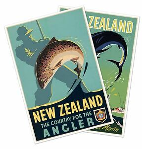 Large Set of Two (2) New Zealand FISHING Travel Prints 24x36 Trout Black Marlin