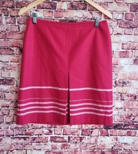 Ann Taylor Loft Red White Striped Front Pleat Straight Skirt Size 8P