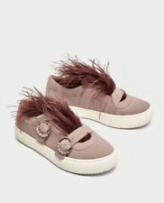 Zara Women Suede Sneakers With Feather Detail Size 6.5 EUR 37 NWT