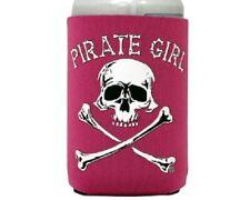 Pirate Girl Pink Neoprene Beverage Can Cooler Skull Crossbones