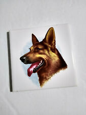 "Ceramic Tile / Coaster / Wall Hanging German Shepherd Dog Parlam 4.25"" x 4.25"""
