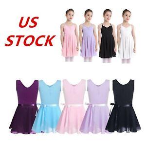 US Kids Girls Gymnastics Ballet Leotard Dress Lyrical Dance Tutu Skirt Costume