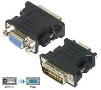 DVI-I dual link 24+5pin male to VGA 15 pin female converter adapter black