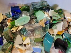 5+lbs Reclaimed Salvaged Vintage Colored Glass Shards and Pieces