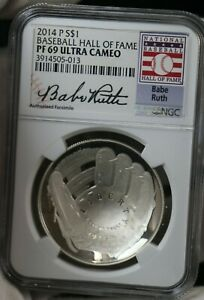 2014 P Baseball Hall of Fame NGC PF69 ULTRA CAMEO $1 SILVER Coin ES658