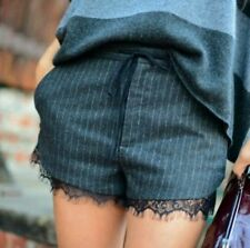 ZARA Grey Wool Pinstripe Lingerie Style Lace Trim Tailored Shorts Hotpants XS