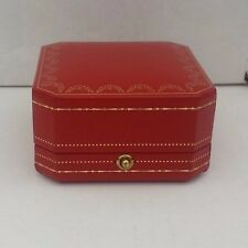 ICONIC CARTIER Gold Leaf Red Leather Push Button Earring Jewelry Box #4533