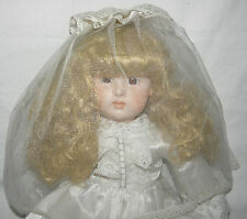Victorian Bride Porcelain Doll 21 in Hand Painted Satin Dress Veil Lace-up Shoes