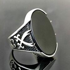 925 Sterling Silver Mens Ring with black Onyx & Zulfiqar the Legendary Sword 9US