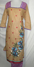 new  style beautiful gold embroidery silk    Cotton  salwar kameez Size 2 XL46