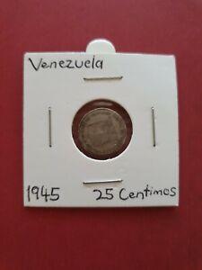 1945 Venezuela 25 Centimos: 835 Silver
